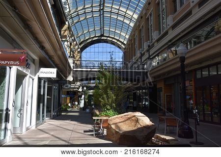 SALT LAKE CITY, UT - AUG 28: City Creek Center in Salt Lake City, Utah, as seen on Aug 28, 2017. It is is a mixed-use development with an upscale open-air shopping center.