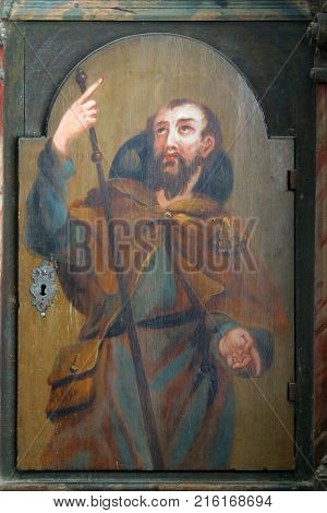 LEPOGLAVA, CROATIA - MARCH 17: Saint James the Less, picture on a wardrobe in the sacristy of the church of the Immaculate Conception in Lepoglava, Croatia on March 17, 2017.