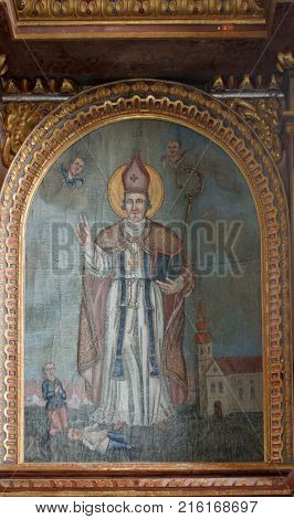 VUKOVOJ, CROATIA - MARCH 17: Saint Wolfgang, altarpiece in the chapel of St. Wolfgang in Vukovoj, Croatia on March 17, 2017.