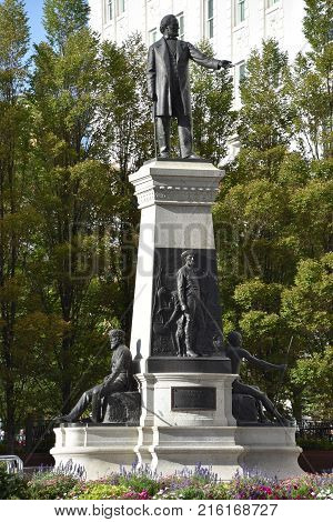 The Monument to Brigham Young and the Pioneers in Salt Lake City, Utah