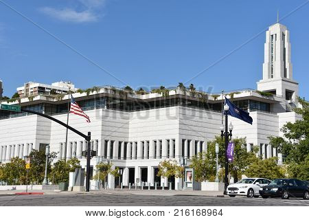 SALT LAKE CITY, UT - AUG 28: Conference Center in Salt Lake City, Utah, on Aug 28, 2017. Its the main meeting hall for The Church of Jesus Christ of Latter-day Saints and largest auditorium built.