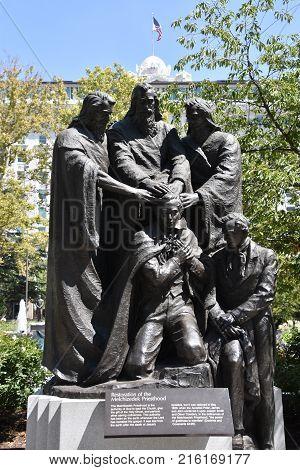 Joseph Smith Priesthood Statue in Salt Lake City, Utah