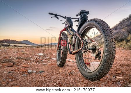 fat bike on desert trail with deep, loose gravel - Big Hole Wash Trail in  Red Mountain Open Space north of Fort Collins, Colorado