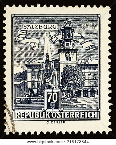 Moscow Russia - December 01 2017: A stamp printed in Austria shows Residence Fountain in Salzburg series