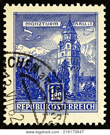 Moscow Russia - November 30 2017: A stamp printed in Austria shows Munzturm Hall in Tyrol Austria series