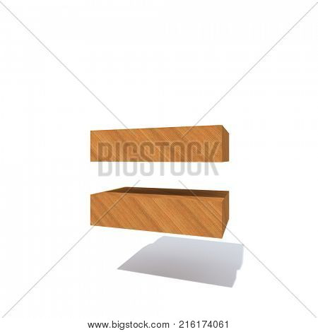 Conceptual wood or wooden brown font or type, timber or lumber industry piece isolated on white background. Educative hadwood material, smooth surface pine handmade sculpted object as 3D illustration poster