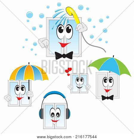 Set vector illustration for the business of selling Windows. Cartoon character. wash the window. Shower water sprays. window under the umbrella. window with headphones.