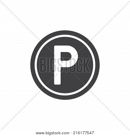 Parking icon vector, filled flat sign, solid pictogram isolated on white. Traffic sign parking symbol, logo illustration.