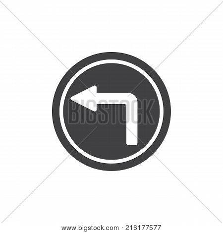 No turn left road icon vector, filled flat sign, solid pictogram isolated on white. Do not turn left traffic sign symbol, logo illustration.