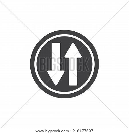 Up and down arrows traffic sign icon vector, filled flat sign, solid pictogram isolated on white. Two ways road symbol, logo illustration.