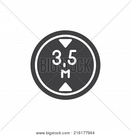Road sign maximum height 3, 5 icon vector, filled flat sign, solid pictogram isolated on white. Symbol, logo illustration.
