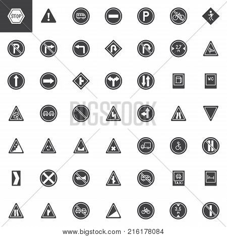 Road signs vector icons set, modern solid symbol collection, filled style pictogram pack. Signs, logo illustration. Set includes icons as warning, priority, parking, disability, traffic