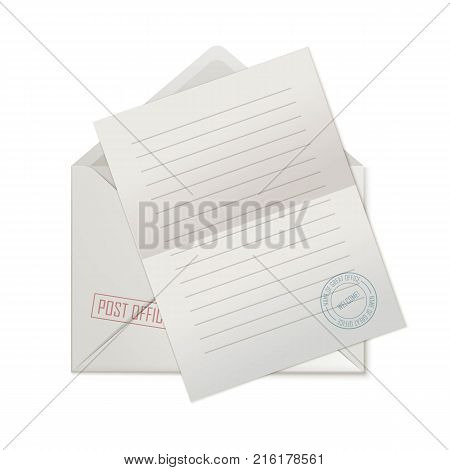 Blank sheet on open envelope. A paper with a seal prepared for writing is on top of the envelope. Vector illustration of a correspondence template