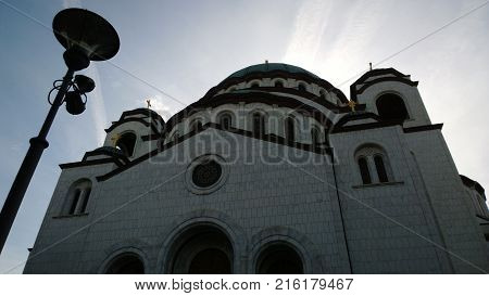 The temple of Saint Sava in Belgrade. The view from close range and below