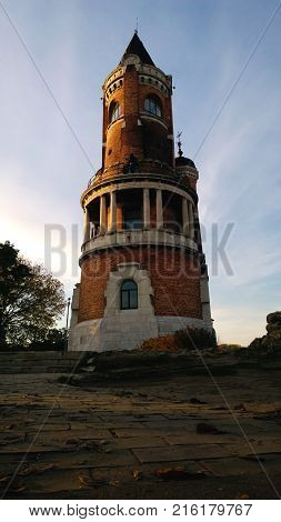 The famous tower of the Millenium  in the quarter of Zemun in Belgrade, Serbia. Vertical view