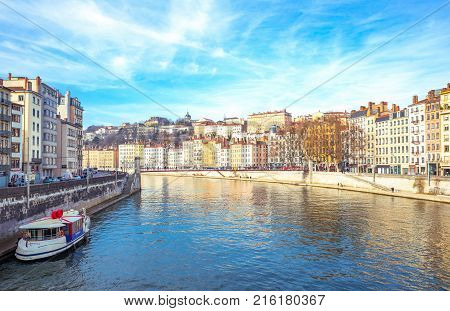 Lyon France - December 9 2016: The architectures of the old town seen from the Saone river