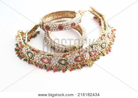 Indian Traditional Gold Necklace with Pearl- top view