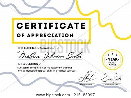Certificate appreciation template vector photo bigstock certificate of appreciation template design elegant business diploma layout for training graduation yadclub Images