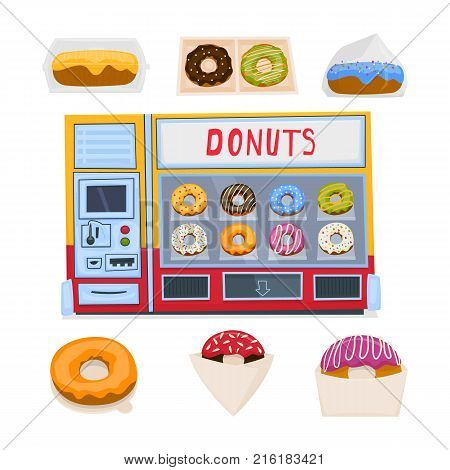 Automatic machine for making and selling donuts. A set of packing boxes for donuts. Vector illustration.