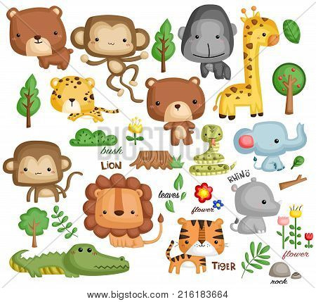 a jungle vector set with many animal content