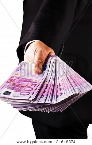 Manager with lots of  500  euro banknotes