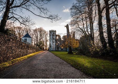 Cork, Ireland - November 12, 2017: Castle of Mallow and gardens. Scenic view at sunrise in Autumn with no people