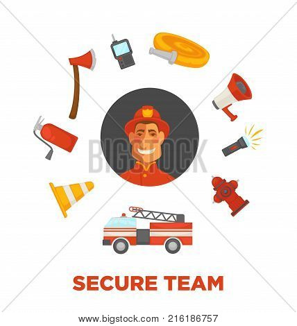 Firefighting secure team poster of fire protection and extinguishing equipment tools. Vector flat icons of firefighter, extinguisher, water hydrant hose and engine car or siren and fire protection ax