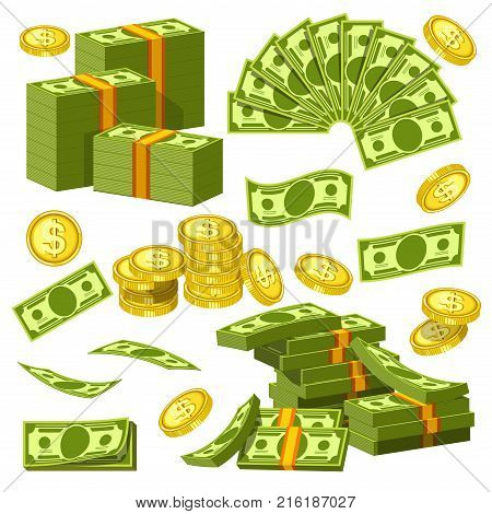 Dollars and cents money banknotes and golden cents coins icons. Vector paper and coin money piles and heaps for banking finance business or casino poker jackpot cash win game