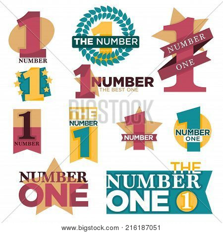 Number one logo templates set for best winner or golden star award and laurel prize. Vector isolated icons set for first place victory or best number one quality nomination