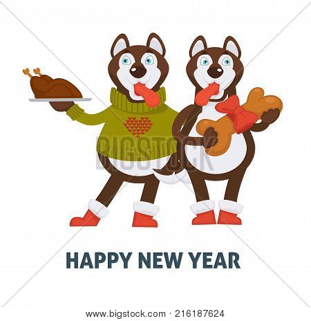 happy new year 2018 cartoon dogs celebrating holidays with christmas turkey chicken and gingerbread cookie bone