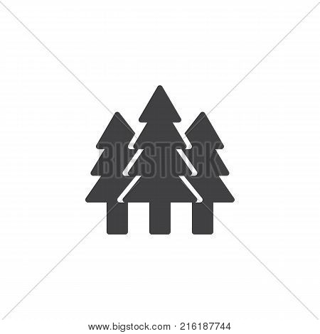 Spruce forest icon vector, filled flat sign, solid pictogram isolated on white. Evergreen conifer tree symbol, logo illustration