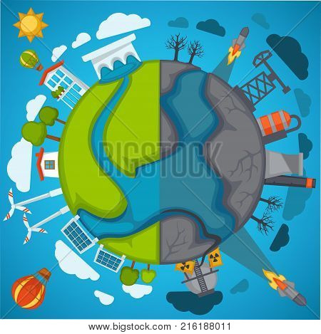 Green eco planet and environment pollution vector poster. Save earth conservation and nature protection concept for green energy sources of windmill, solar panels and industrial plant factory