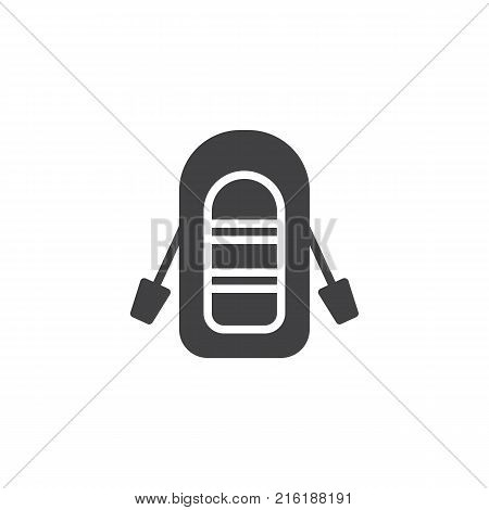 Inflatable boat with oars icon vector, filled flat sign, solid pictogram isolated on white. Symbol, logo illustration