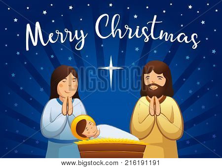 Christmas nativity greeting card, Holy family scene. Vector illustration birth of Christ, with baby Jesus, prayer Mary and Joseph and star of bethlehem on night background