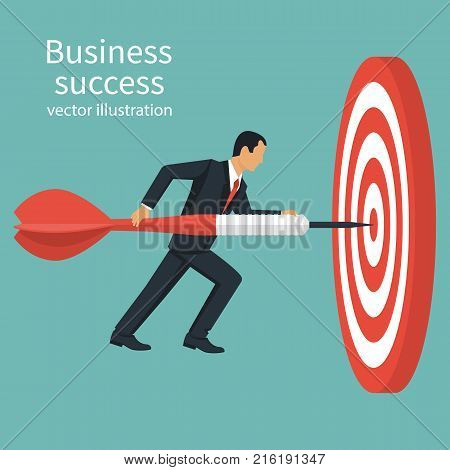 Successful businessman hold arrow in hand, achievement goal. Aim in business concept. Target isolated background. Vector illustration flat design. Aspirational people. Mission achieved.