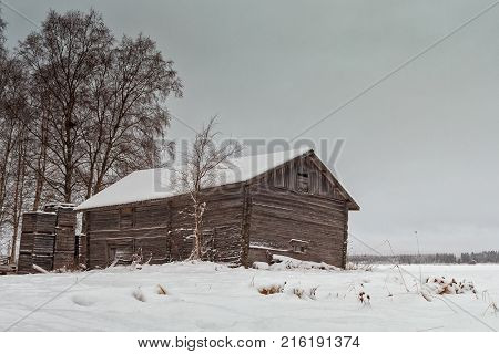 Abandoned Barn House Covered With Snow