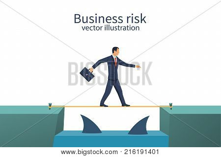 Business risk. Businessman walking on tightrope gap in rocks with floating predatory sharks. Way to success. Obstacle on road. Vector flat design. Isolated on white background. Success concept.