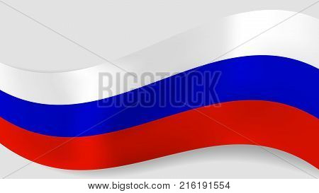 Abstract vector wavy Russian flag background. Ribbon with white blue red russian flag colors for national holidays and events banners design