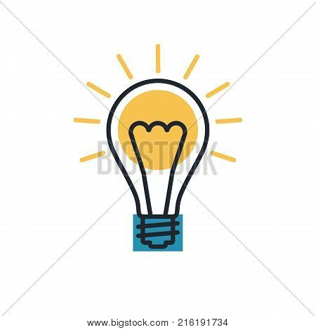 Idea line. Vector illustration flat design. Isolated on white background. Creative idea solution innovative technology. Electric lamp template invention.