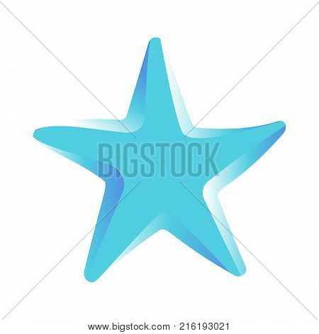 Blue starfish vector illustration isolated on white background. Star marine creature in flat design cartoon style, shellfish character
