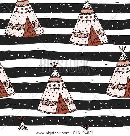 Hand drawn Cute seamless pattern with tee pee wigwam North American Indian tee pee