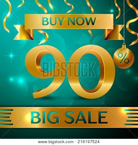Realistic banner Merry Christmas with text Gold Big Sale buy now ninety percent for discount on green background. Confetti, christmas ball and gold ribbon. Vector Illustration