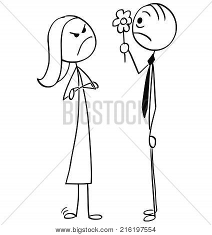 Vector Cartoon Of Man Sick By Talking Woman