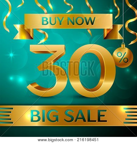 Realistic banner Merry Christmas with text Gold Big Sale buy now thirty percent for discount on green background. Confetti, christmas ball and gold ribbon. Vector Illustration