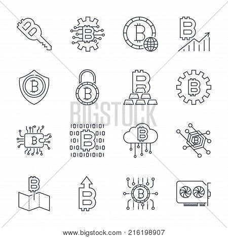 Set of Thin Line Stroke Vector Bitcoin and Cryptocurrency Icons. Icons for sites, programs, apps and other. Mining, coin, pickaxe, gold, money, video card, phone, laptop, exchange Editable Stroke
