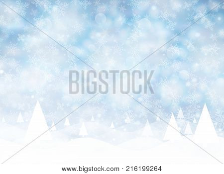 Christmas winter on blue background. White snow with snowflakes on silver bright light. Christmas tree. Vector illustration