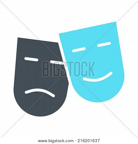 Comedy and tragedy theatre masks silhouette icon. TV, video symbol. 96x96 for Web Graphics and Apps.  Simple Minimal Pictogram. Vector