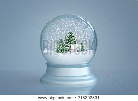 Snow globe with house and pine trees on blue background. 3D rendering