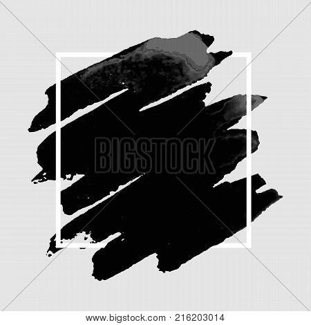 Vector pattern background with black brush strokes in watercolor enclosed in square. Original grunge art paint template for headline logo and banner.