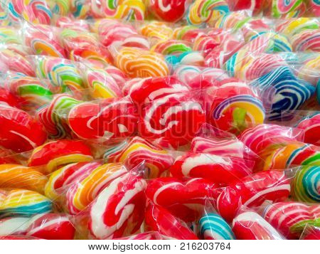 Colorful candy or many lollipop sweet candy